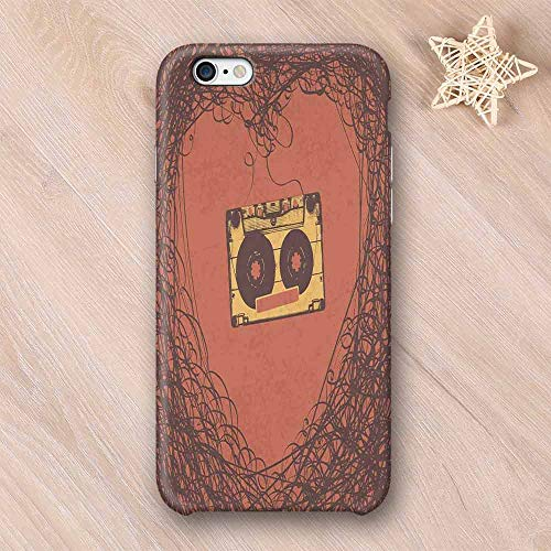 Music Decor Frosted & Smooth Surface Compatible with iPhone Case,Love Old Fashioned Music Elements Cassette Tape Analogue Vintage Nostalgic Stereo Print Compatible with iPhone 7/8 Plus,iPhone 6/6s