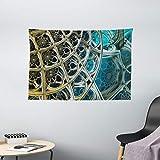 "Ambesonne Fractal Tapestry, Vintage Motifs Inspired Floral Design Dimension Futuristic Print, Wide Wall Hanging for Bedroom Living Room Dorm, 60"" X 40"", Pale Blue"