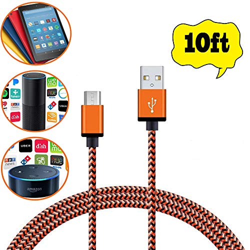 Micro USB Charger, (10ft/3M) Nylon Braided Fastest charger cable for Android, Samsung galaxy Cord S7/S7 edge, Sony and Amazon Echo Dot,Fire HD 8 Tablet and Kindle eReaders