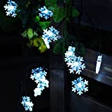 ACTLATI Snowflake String Lights Solar Powered Outdoor Yard Decorations Christmas Tree Ornaments And Holiday Lights For Easter Day/Thanksgiving Day/Christmas Day/Halloween Pure White