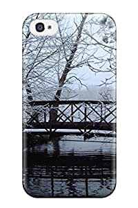 Hot Tpu Cover Case For Iphone/ 4/4s Case Cover Skin - Bridge In Winter White Snow Ice Water River Black Nature Other