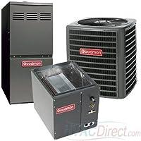 GOODMAN AIR CONDITIONER 2 TON 16 SEER 80% AFUE 100,000 BTU GOODMAN GAS FURNACE SYSTEM UPFLOW- GSX160241 / CAPF3743C6 / GMVC81005CN