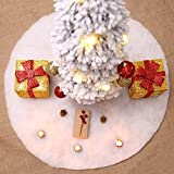 Yinrunx 35-inch White Christmas Tree Skirts Faux Fur Christmas Tree Skirt White Long Plush Luxury Merry Christmas Supplies Holiday Decorations