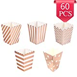 Popcorn Boxes Cardboard Candy Boxes for Birthday Bridal and Baby Shower Carnival/Graduation/Party/Movie/Fiesta Dessert Tables Wedding Party Supplies 60pcs Rose Gold