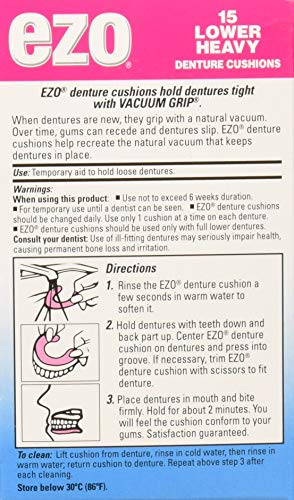 Ezo Denture Cushions, Lower Heavy, 15 cushions (Pack of 1) - http://coolthings.us