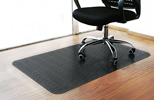 Polytene Office Chair Mat 48''x31''Hard Floor Protection Rectangular Anti Slide Coating on The Underside,Black by Tikteck