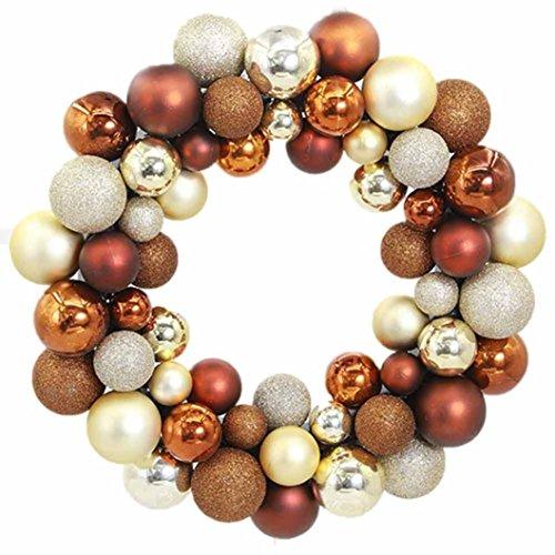 Hot Sale! Clearance!Todaies Christmas 55 Balls Wreath Door Wall Ornament Garland Decoration (34.5734.5CM, Coffee)