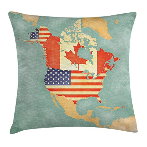 Ambesonne World Map Throw Pillow Cushion Cover, States and Canada Outline Map of the North America in Grunge Stylized Soft Colors, Decorative Square Accent Pillow Case, 16 X 16 Inches, Multicolor (Bath Bench Canada)