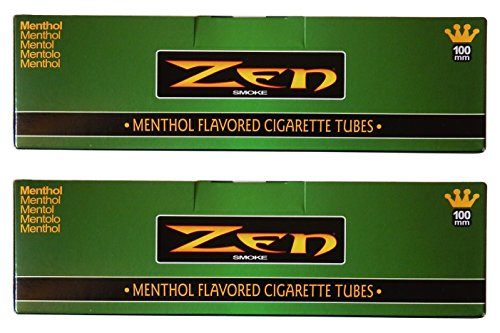 Zen Menthol 100mm Cigarette Tubes - 2 pack, 400 Tubes Total