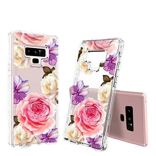 ACKETBOX Galaxy Note 9 Case?Feminization Design Flowers 3in1 Heavy Duty Hybrid Impact Defender PC Back Case Bumper Transparent TPU Full Body Protective Cover for Galaxy Note 9(Purple)
