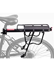 Bike Luggage Rack Rear Adjustable Bicycle Touring Carrier with Fender Board Frame-Mounted for Heavier Top Side Loads