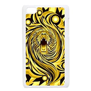 Ipod Touch 4 2D Customized Hard Back Durable Phone Case with Fractal lion Image