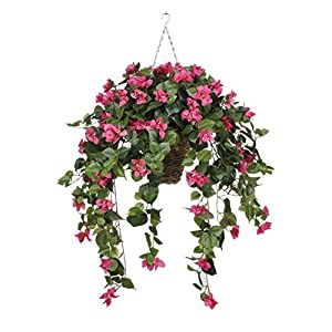 House of Silk Flowers Artificial Pink Bougainvillea in Hanging Square Basket 8