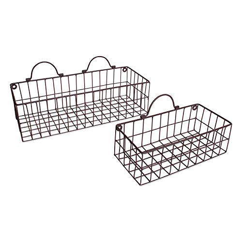 (DII Z01657 Rustic Farmhouse Vintage Hanging Wall Mounted Wire Metal Basket, Set of 2 Assorted,)