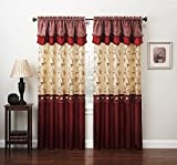Fancy Collection Embroidery Curtain Set 4 Panel Drapes with Backing & Valance (220″ x 84″, Burgundy)