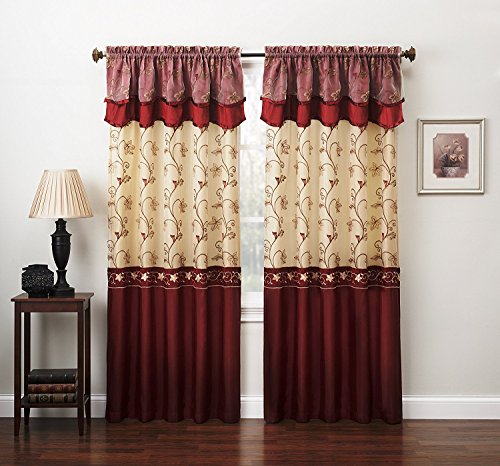 Fancy Collection Embroidery Curtain Set 1 Panel Drape with Backing & Valance (55
