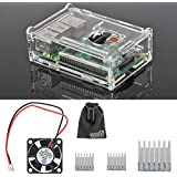 EEEKit 3-in-1 Accessories Kit for Raspberry Pi 3 Model B, Pi 2 Model B, Pi Model B+,Clear Protective Housing Box Cover Case + Cooling Fan + 3 Pcs Heatsinks