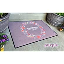 Qualtry Personalized Outdoor Welcome Entrance Door Mat - Decorative Front Door Welcome Rug Wedding Gift (Wreath Thompson Design, Large Size)