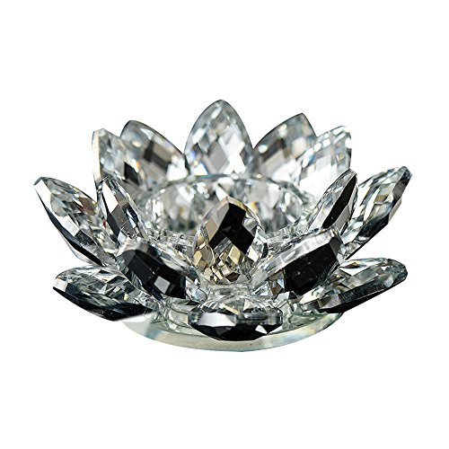 Quaanti 7 Colors Crystal Glass Lotus Flower Candle Tea Light Holder Buddhist Candlestick Wedding Bar Party Home Decor (White)