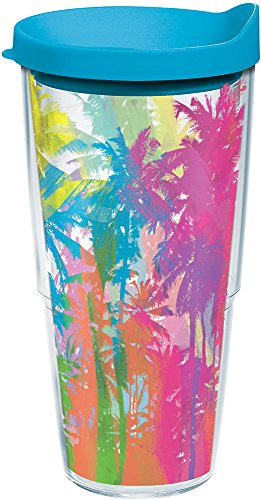 Tervis 1166246 Neon Palm Trees Tumbler with Wrap and Turquoise Lid 24oz, Clear (Tumbler Tree)