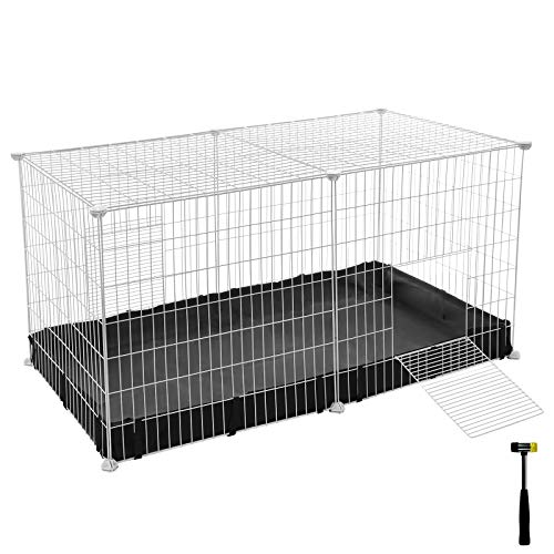 SONGMICS Small Animal Cage, Large Indoor Playpen and Enclosure with Oxford Mat and 2 Doors, Metal Grid Crate for Guinea Pigs and Cats, 48.4 x 24.8 x 24 Inches, White ULPI05W