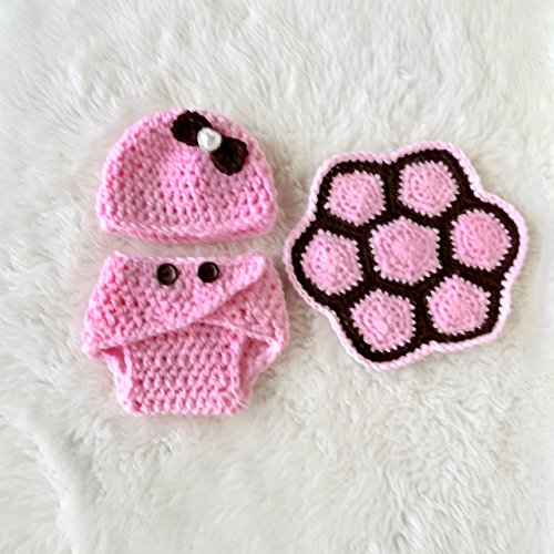 Best Baby Turtle Costume Photo Prop Halloween Outfit Gift Set Light Pink and Brown 3 Piece -