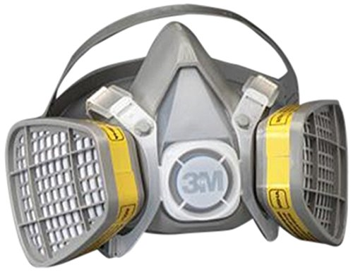 """3M 5303 Large Yellow Thermoplastic Elastomer Half Mask 5000 Series Disposable Air Purifying Respirator With 4 Point Harness, English, 27.612 fl. oz., Plastic, 6.8"""" x 6.8"""" x 6.8"""""""