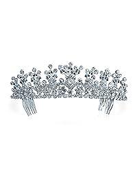Bling Jewelry Rhinestone Flower Princess Bridal Tiara Crown Silver Plated