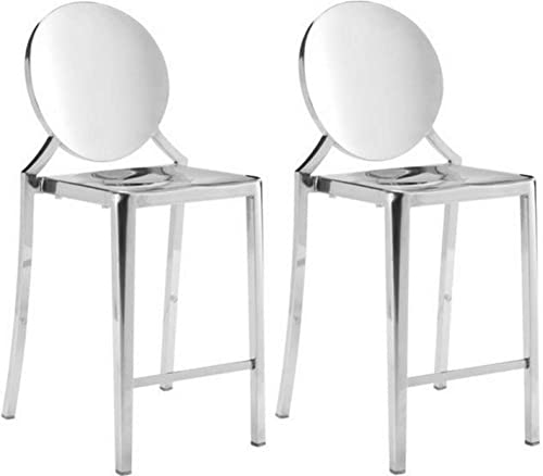Zuo Modern Eclipse Counter Chair Ss Set of 2 , Stainless Steel, Polished Stainless Steel Finish