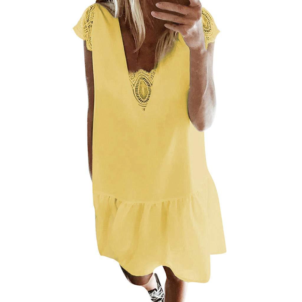 Vimoli Kleider Damen Frauen Weinlese Spitze Sommer Kurzschluss Hülsen festes Rüschen Minikleid Einfarbig Strandkleid