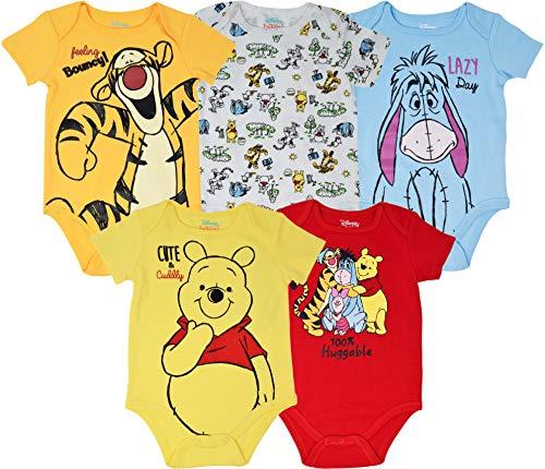 Disney Winnie The Pooh Tigger Eeyore Baby Boys Girls 5 Pack Bodysuits 12 Months