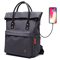 Nuheby Tote Bag Backpack Convertible with USB Charging Lightweight Waterproof School Travel Daypack Large Capacity Fit Under 15-inch Laptop Fashion & Casual Foldable Backpack for Women Men, Black