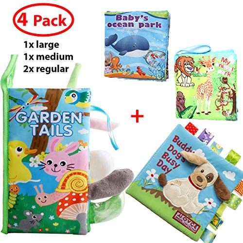 F.&.D 4pack Soft Baby Cloth Book Eco-Friendly Fabric Shower Book Toys Best Gift for Infants Girls Boys, Early Education,Learning Resource for Babies - Garden Tails