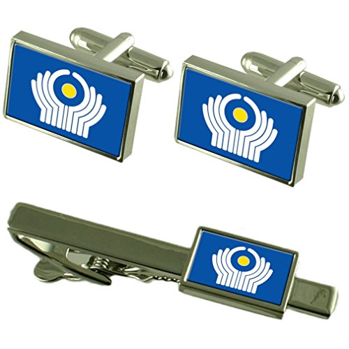 Cravate boutons de manchette Drapeau de la CEI un Ensemble cadeau correspondant