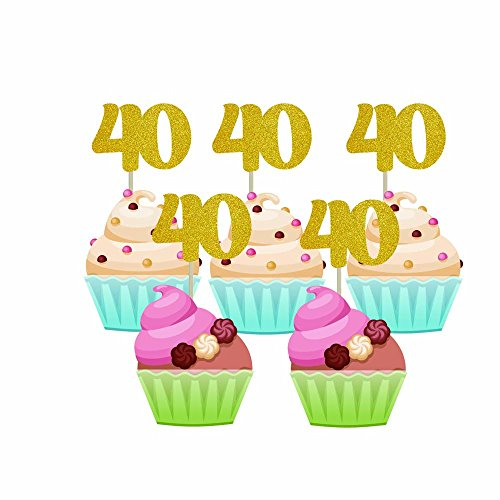 Homy Feel 48 Pieces 40 Number Gold Glitter Birthday Cupcake Toppers,40th Cupcake Picks Mini Cake Decorations for Birthday Party Supplies