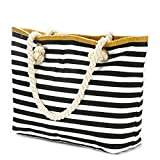 MeliMe X-Large Travel Canvas Shoulder Beach Tote Bag with Handmade Woven Straw Binding, Cotton Rope Handles, Waterproof Lining and a special pocket inside design. (Style 09)