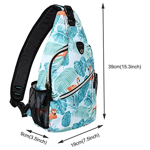 MOSISO Sling Backpack, Polyester Crossbody Shoulder Bag for Men Women Girls Boys, Flamingo by MOSISO (Image #5)