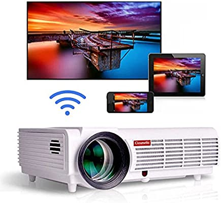 Gzunelic Android WiFi 1080p Video Projector 5500 lumens LCD LED Full HD Theater Bluetooth Proyector Wireless Mirror to Smart Phones by Airplay or ...