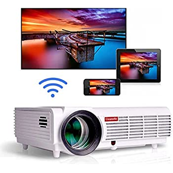 Gzunelic 5500 lumens Android WiFi 1080p Video Projector LCD LED Full HD Theater Proyector with Bluetooth Wireless Mirror to Smart Phones by Airplay or ...