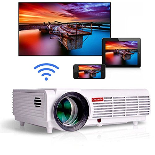 Gzunelic 4200 lumens Android WiFi 1080p Video Projector LCD LED Full HD Theater Proyector with Bluetooth Wireless Mirror to Smart Phones by Airplay or Miracast Ideal for Home Entertainment