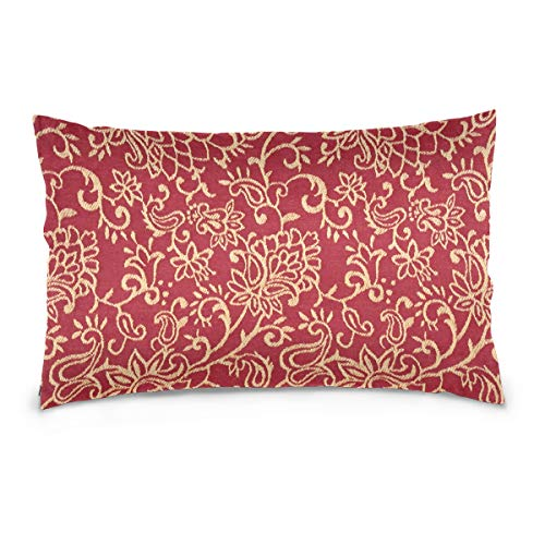 KMAND Crimson Burgundy and Gold Intricate Floral Cotton Pillowcase 20