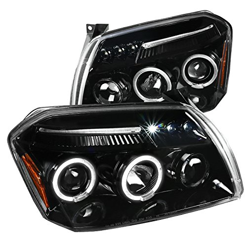 Spec-D Tuning For Dodge Magnum Jet Black LED Dual Halo Projector Headlights Head Lamps Left+Right (Dodge Magnum Srt8 Headlights)