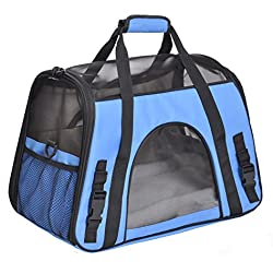 Soft Side Pet Carrier for Cats and Small Dogs, Comes with Shoulder Strap (Blue)