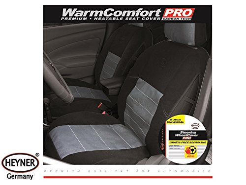 HEYNER 505700 Premium 12V Heated Seat Cover for Car Van Universal Size Carbon Heating Black