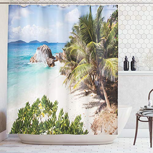 Ambesonne Seaside Decor Collection, Small Tropical Beach with Palm Trees Tropical Plants Sand Granite Rocks Seychelles La Digue, Polyester Fabric Bathroom Shower Curtain, Blue Ivory Green