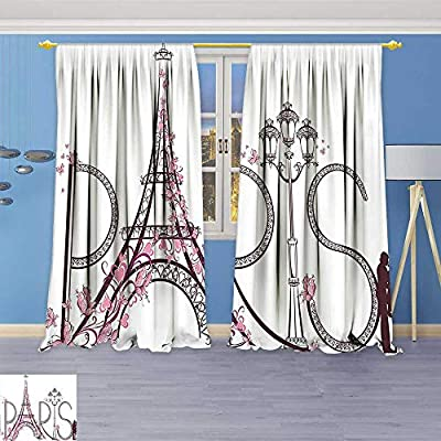 Philiphome Blackout Curtains Thickening Polyester,Decor Collection Tower Eiffel with Paris Lettering Illustration Couple Trip Flowers Floral Artful Thermal Insulated Grommet for Living Room