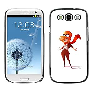 LECELL--Funda protectora / Cubierta / Piel For Samsung Galaxy S3 I9300 -- Pilot Girl Woman Art Painting Outfit Scarf --