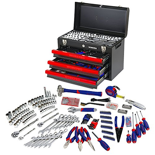 Heavy Duty Tool Box - WORKPRO W009044A 408-Piece Mechanics Tool Set with 3-Drawer Heavy Duty Metal Box