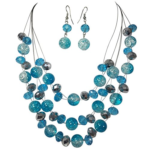 Multi Row Beaded Illusion Wire Lightweight Necklace and Dangle Earring Set (Blue Ombre Crackle (Beaded Silver Necklace)