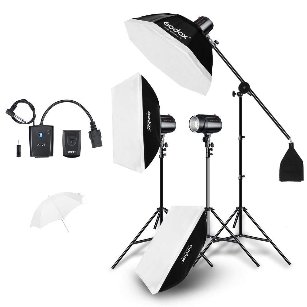 Godox 600Ws Professional Strobe Studio Flash Light Kit 3pcs 200Ws Photography Light + Light Stand + Softbox + Triggers + Gift by Godox